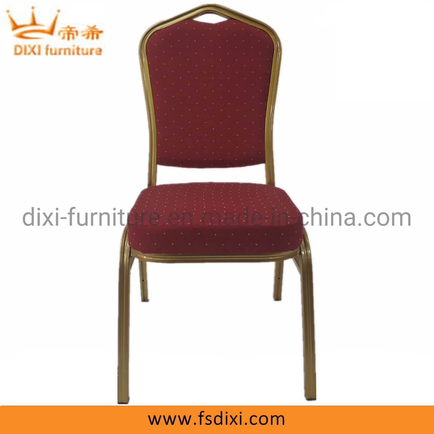 Hot Item Top Quality Commercial Stackable Banquet Chair Gold Fram With Red Fabric