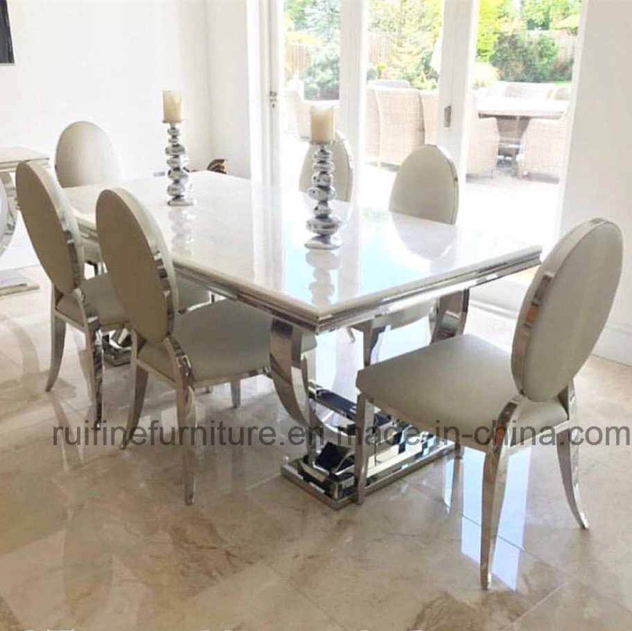 [Hot Item] Modern Dining Room Contemporary Home Furniture / Elegant Metal  Chrome Stainless Steel Marble Table Chair Banquet Restaurant Wedding Events  ...
