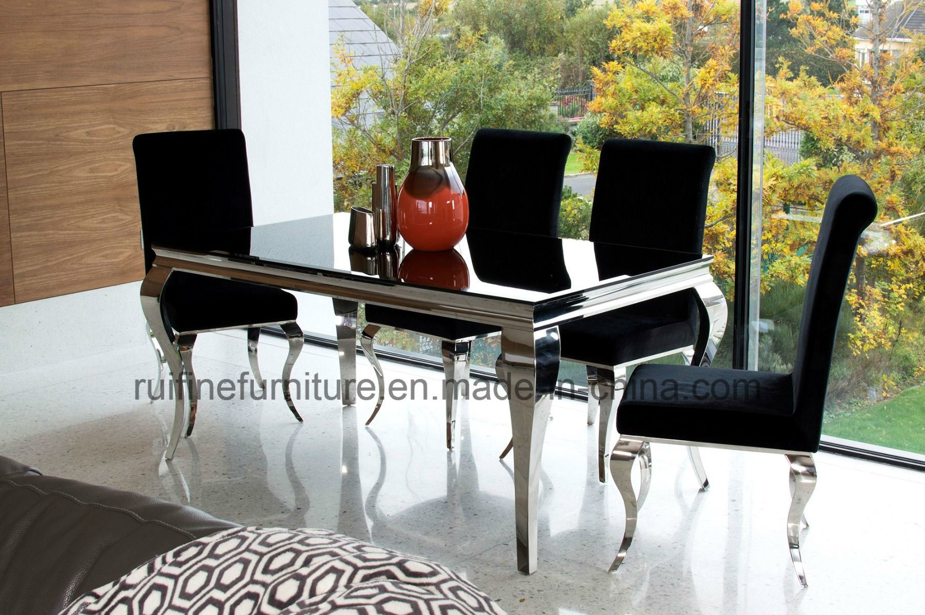 China Modern Glass Dining Table With And 8 Velvet Chairs Silver