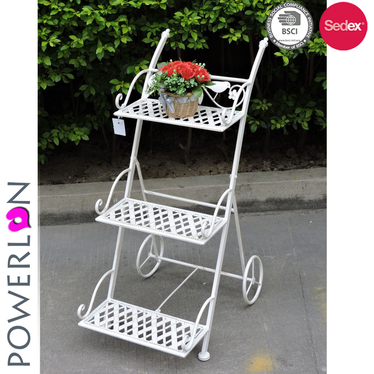 China Fancy Design Iron 3 Tier Metal Wire Flower Plant Stand - China ...