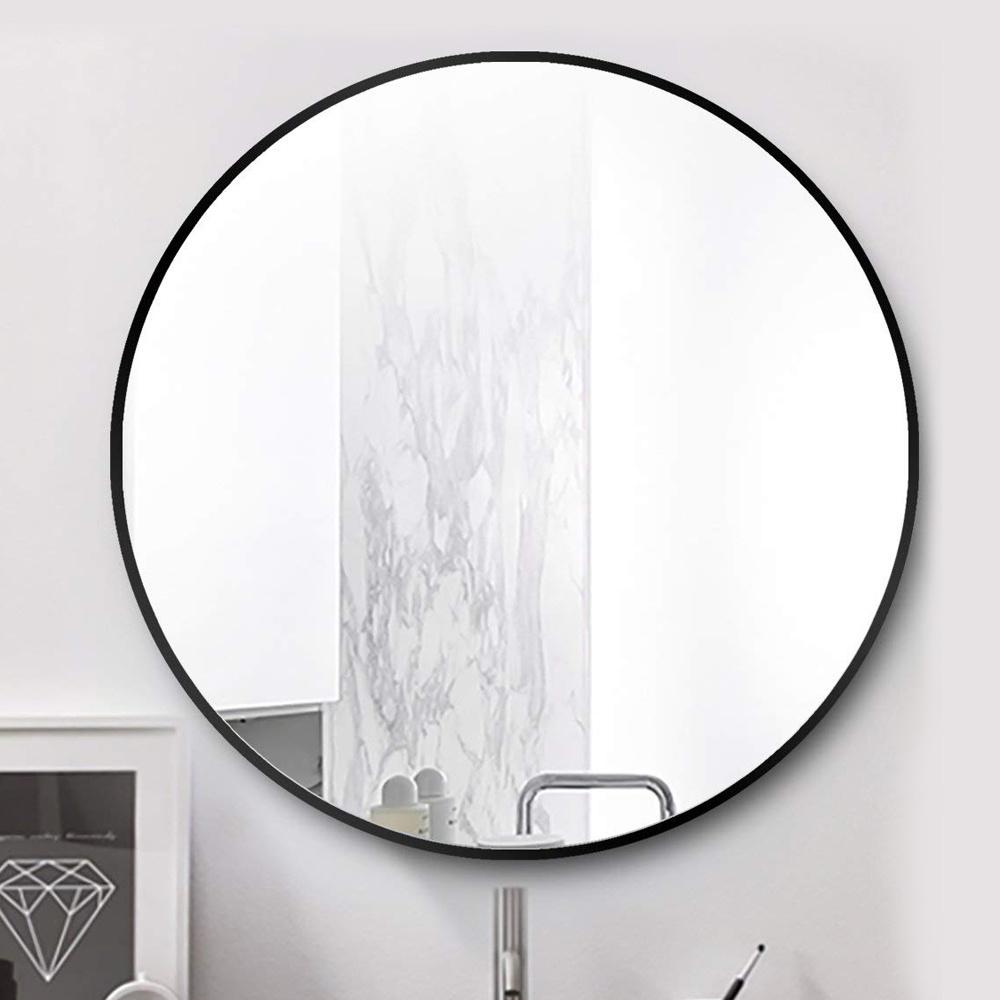 Round Wall Mirror Black Metal Frame