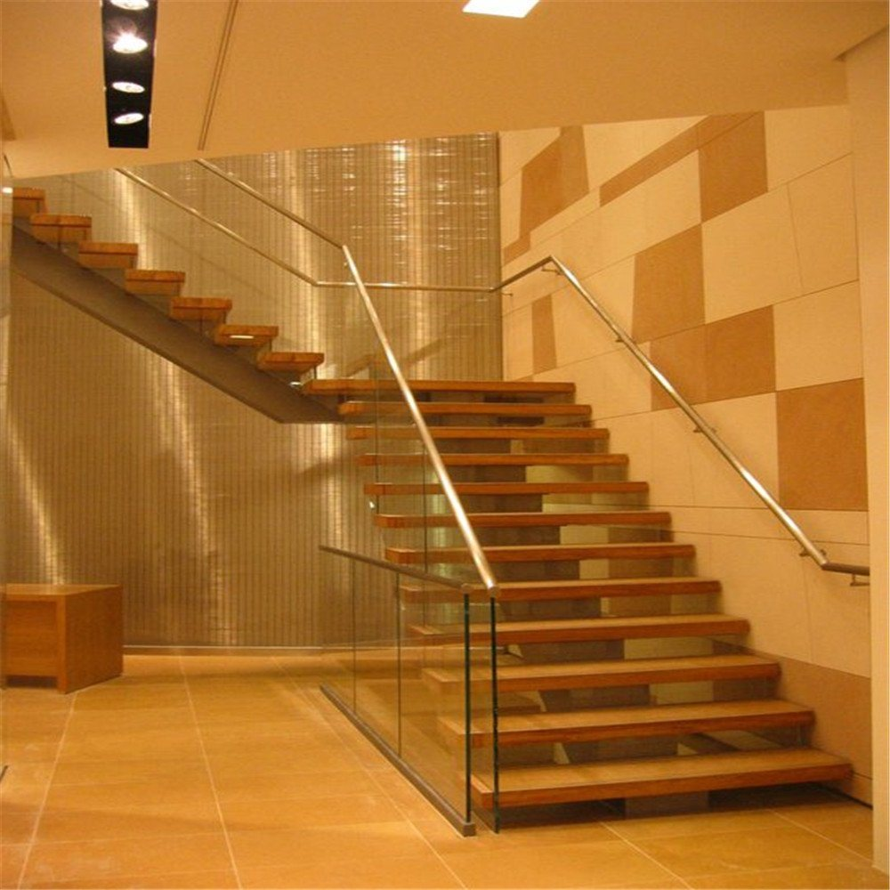 Modern Design Steel Beam Open Riser Staircase With Solid Wood Stairs Tread