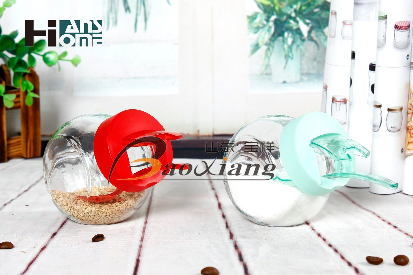 8*6*8 Size Seasoning Small Size Clear Glass Jar with Any Material of Lid pictures & photos