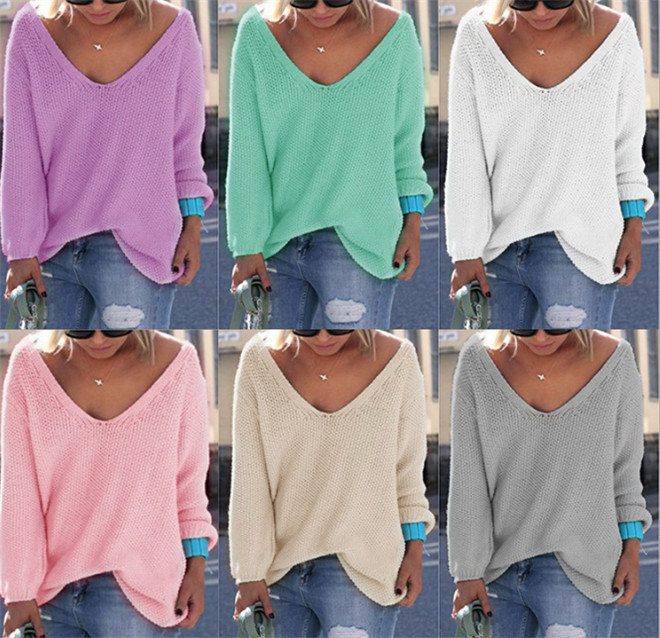 China Ladies V Neck Knitting Sweater Pullover Anti Pilling Colorful