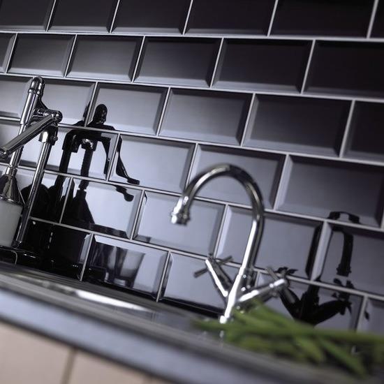 China 3 X6 7 5x15cm Black Glossy Bevel Subway Tiles For Kitchen Backsplash Bathroom Wall China Ceramic Wall Tile Subway Tile
