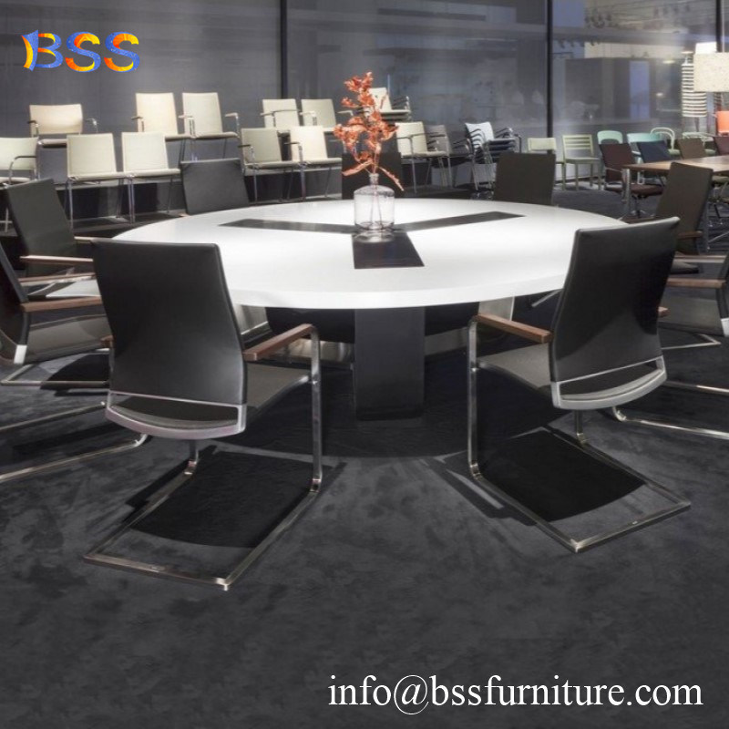 China High End Round Conference Table With Chairs Modern Luxury Smart Small Mini White High Gloss Corian Acrylic Quartz Stone Marble Top Round Shape Conference Table China Round Conference Table Round Shape Conference Table
