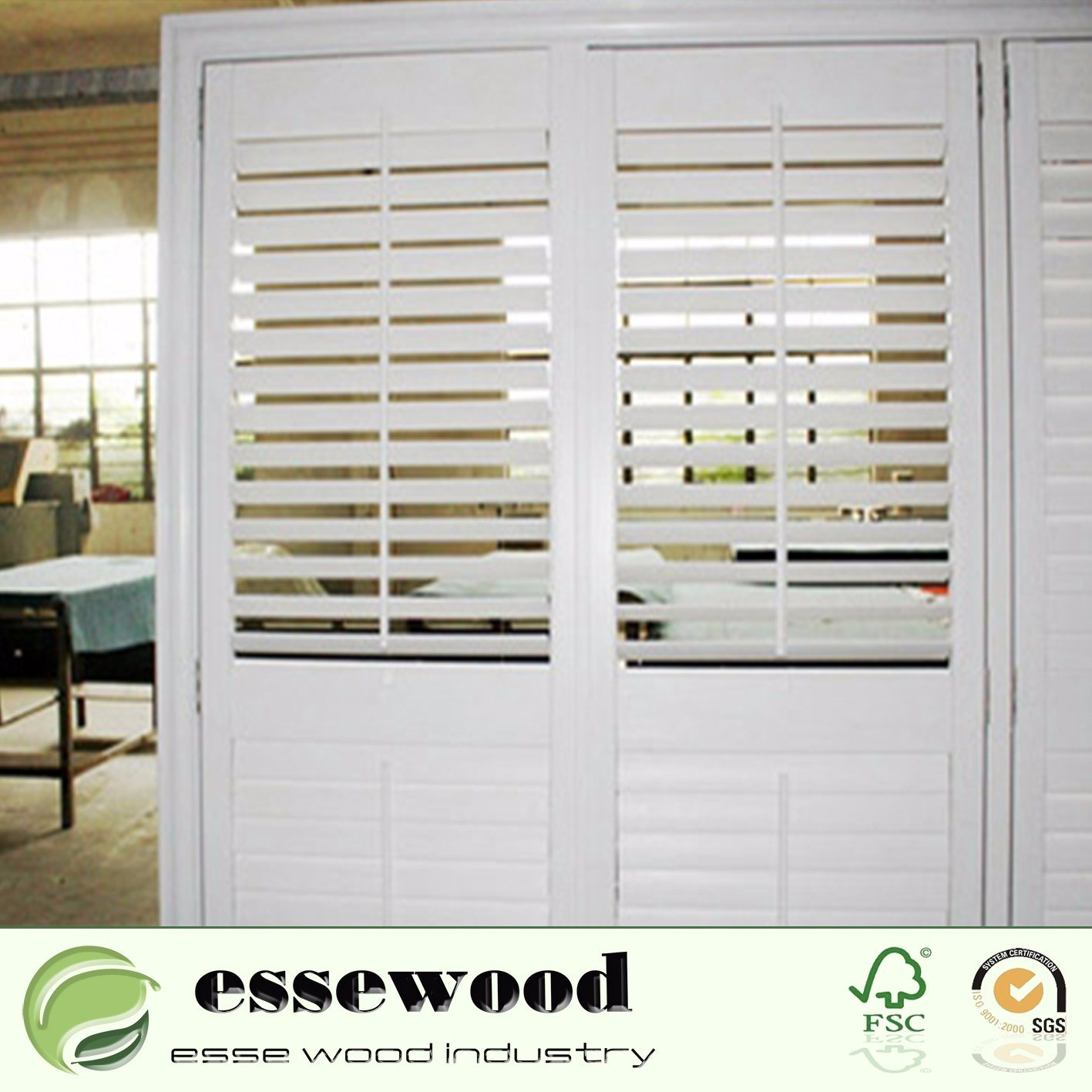 China Vinyl Wrapped White Pvc Plantation Shutters For Home