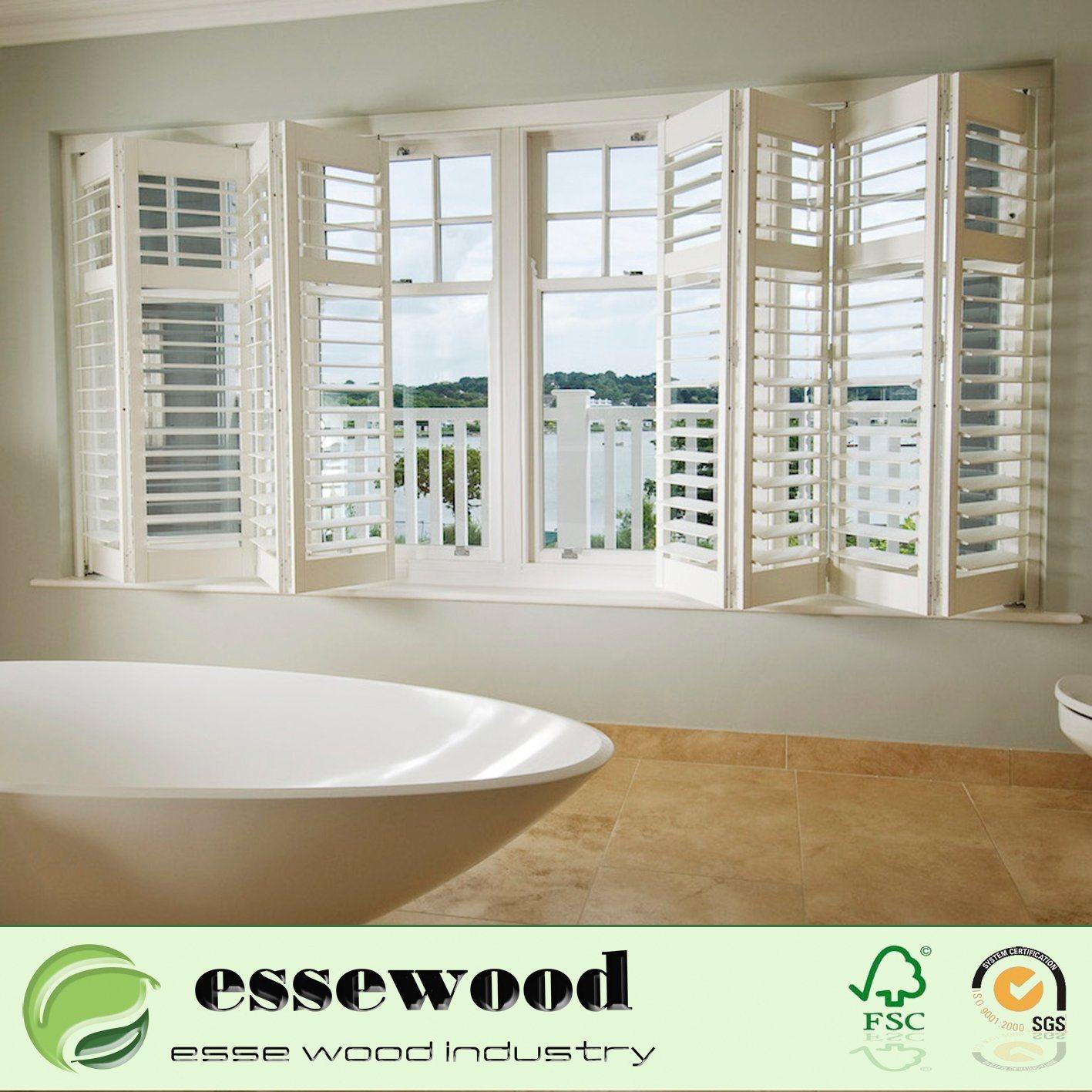 Hot Item White Wood Interior Push Rod Louvers Window Plantation Shutter
