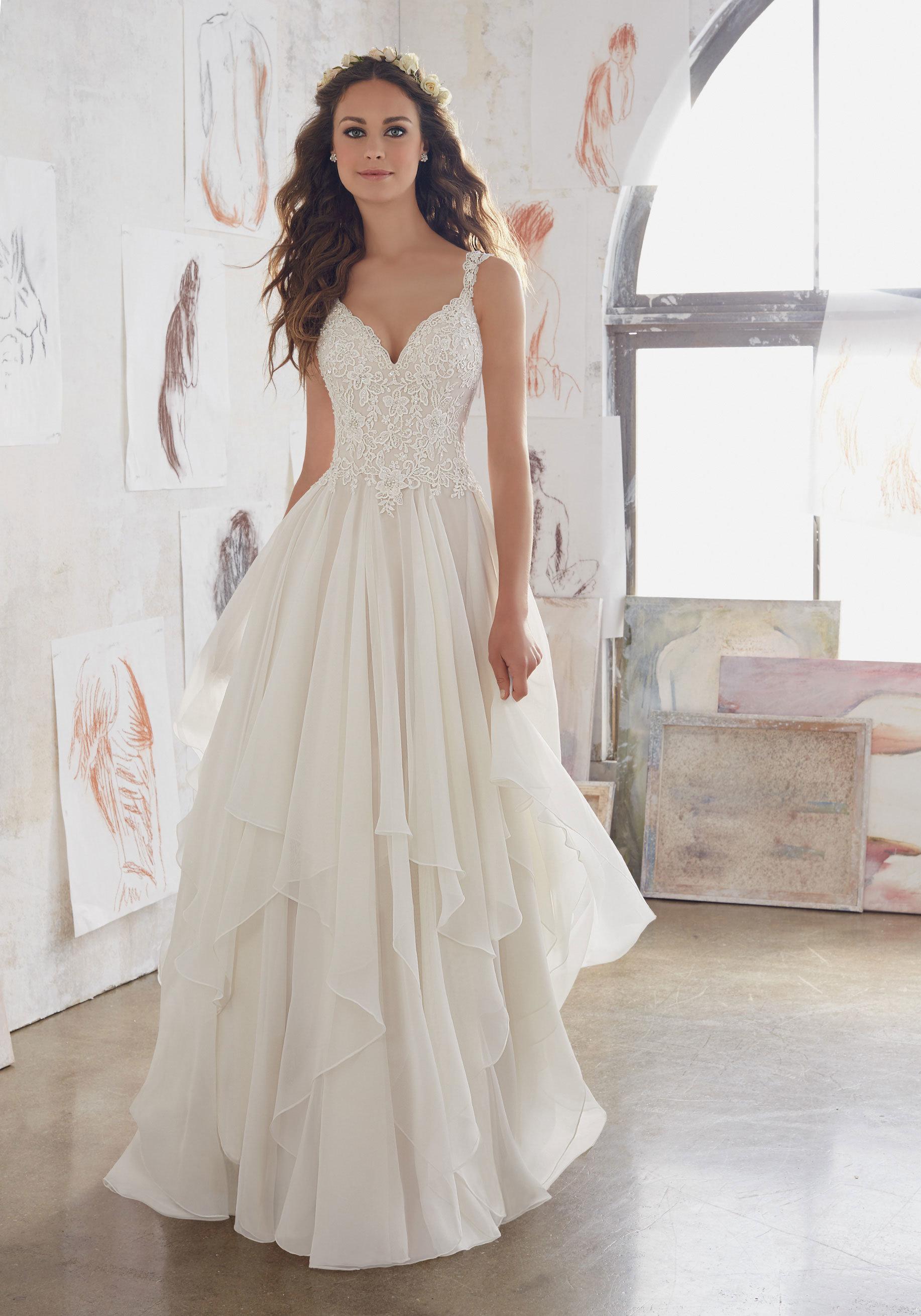 China Amelie Rocky 2018 Chiffon Lace A Line Wedding Dress - China ...