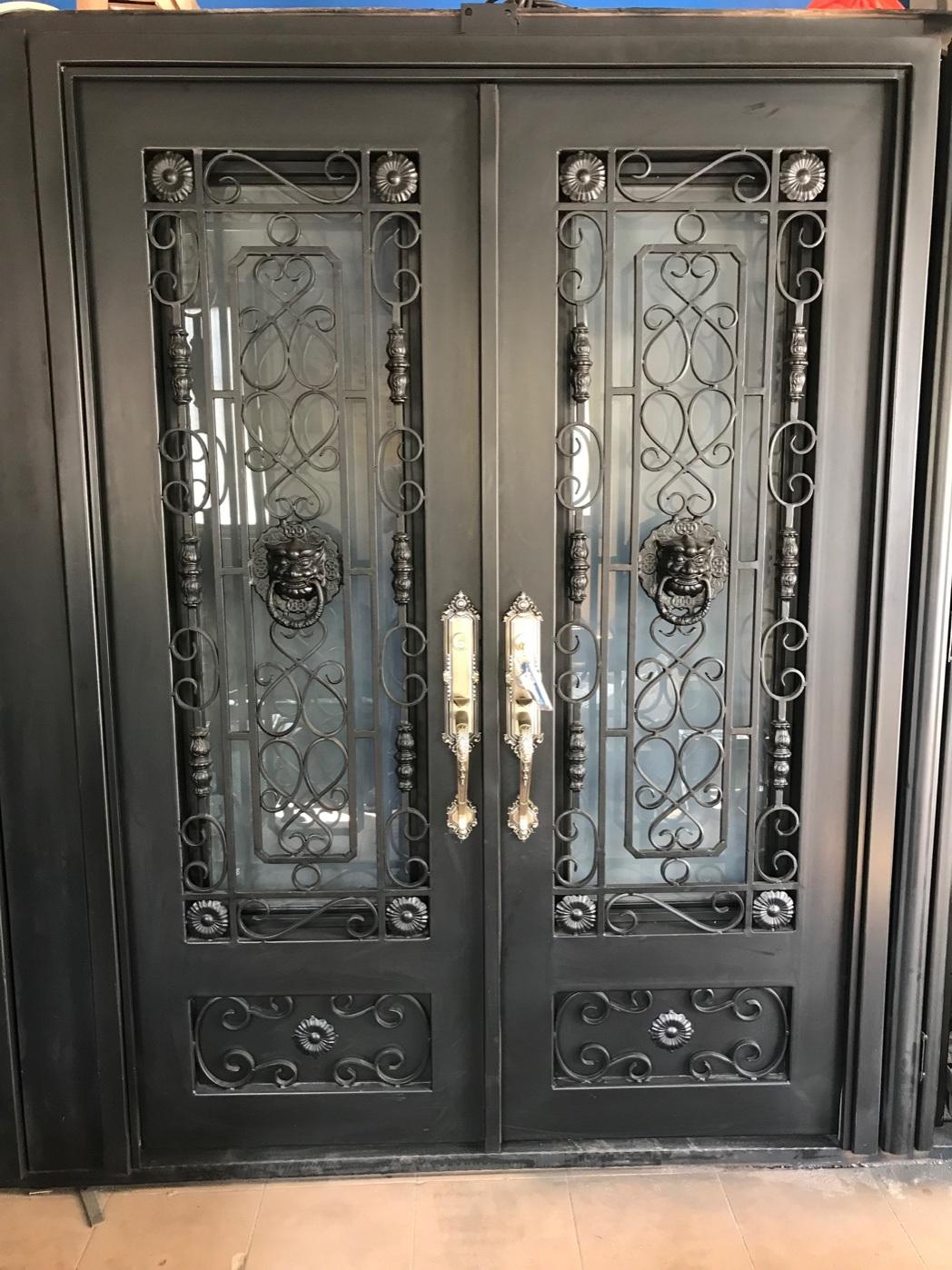 China Hand Forged Custom Exterior Door Double Entry Doors Wrought Iron Door Iron Door China Iron Gates Exterior Door
