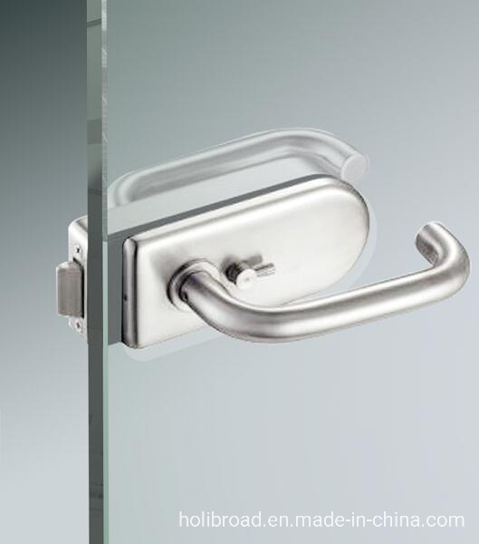 China High Quality Door Hardware Frameless Security Stainless Steel Sliding Glass Door Handle Lock With Cylinder China Door Hardware Glass Door Fitting
