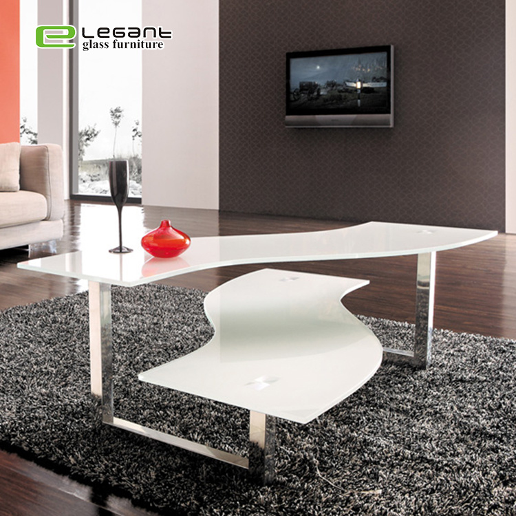 Double Deck Center Table White Painting
