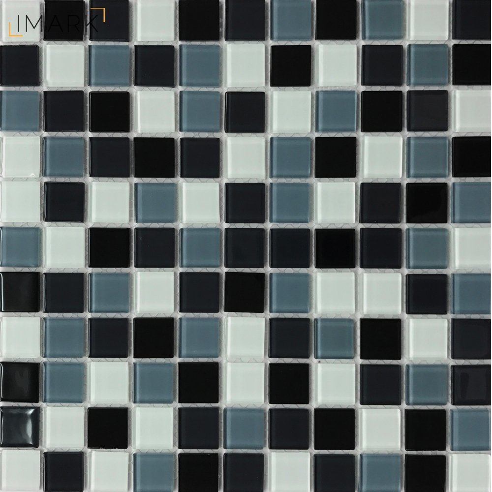 - China Black And White Crystal Glass Mosaic Tile For Kitchen