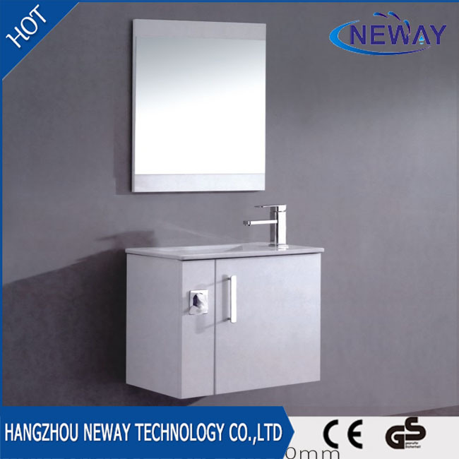 China Simple Design Wall Mounted Plastic Bathroom Cabinet With Mirror Vanity Furniture