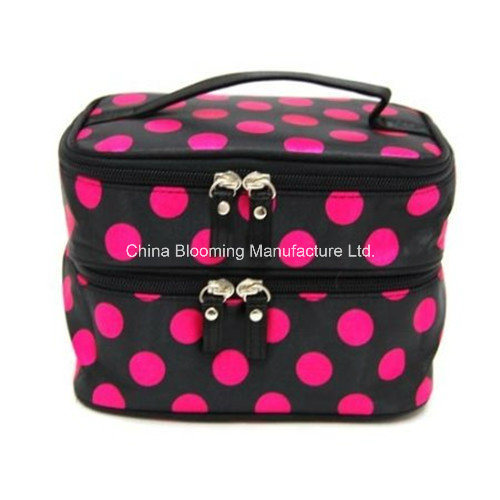 Printed Satin Makeup Storage Organizer Toiletry Travel Beauty Cosmetic Bag
