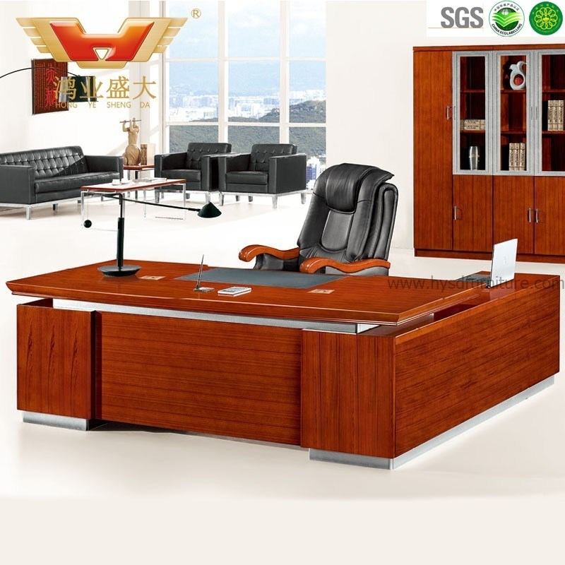 China Modern Teak Veneer L Shaped Executive Office Desk Hy D5124