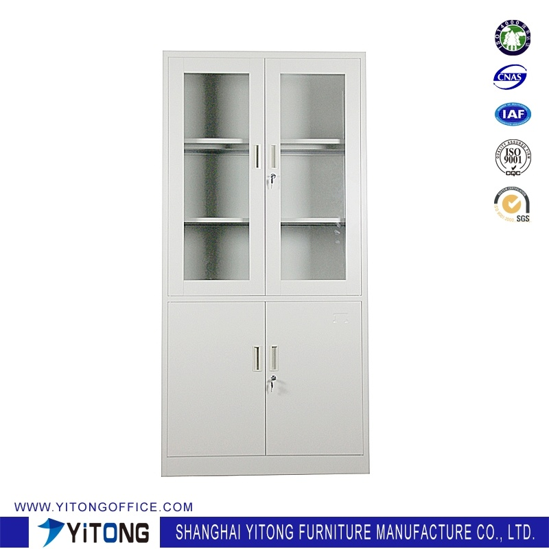 china 4-door glass door metal storage cabinet / office use steel 4 door metal filing cabinet