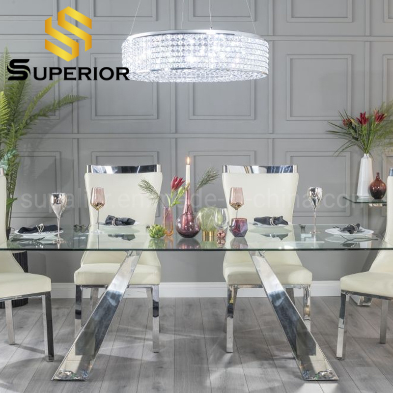 China Home Furniture Luxury Glass Dining Room Table Sets Of Chairs China Restaurant Table Dinner Table