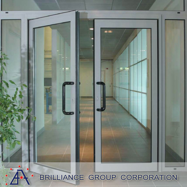 China Thermally Broken Aluminium Casement Door With Glass Louvre