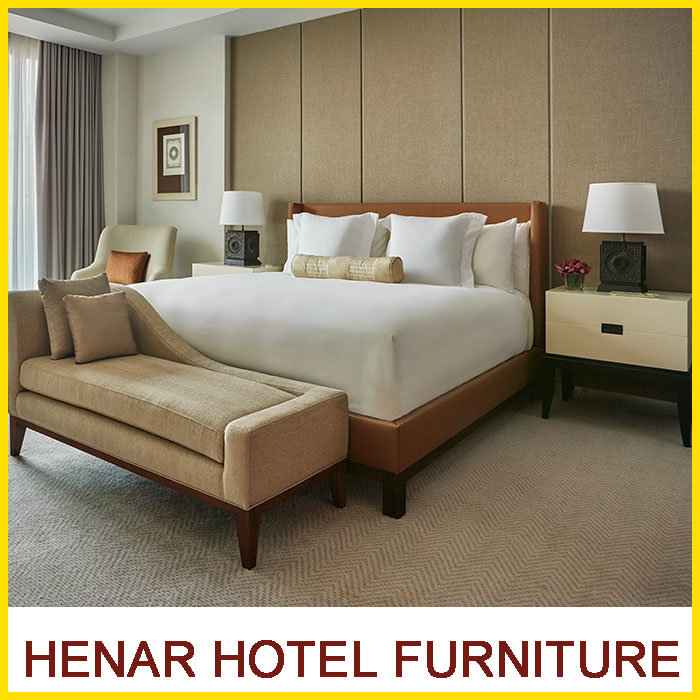 [Hot Item] Brown Leather Motel 6 King Bed Hotel Bedroom Furniture