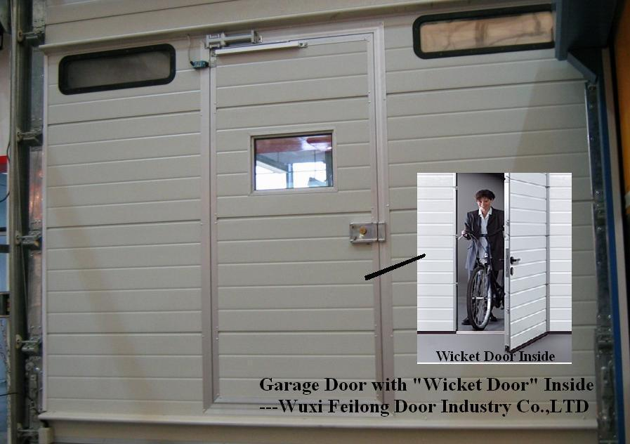 China Automatic Garage Door With Wicket Windows And