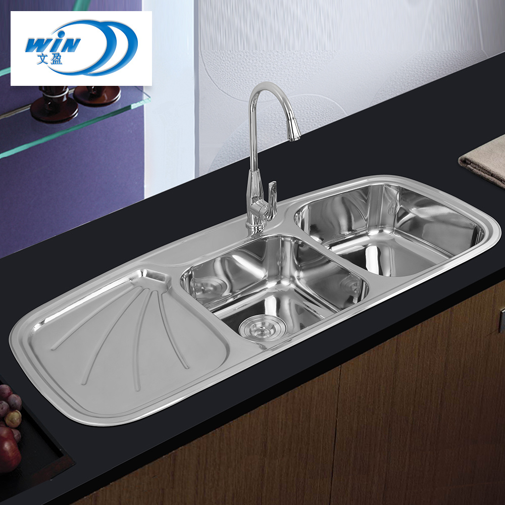 Popular Design Double Bowl Kitchen Sink With Drainboard China Kitchenware Water Tank Made In China Com