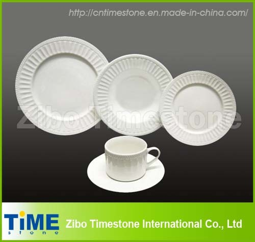 20PC Porcelain White Embossed Dinnerware (1010-09) & China 20PC Porcelain White Embossed Dinnerware (1010-09) - China ...