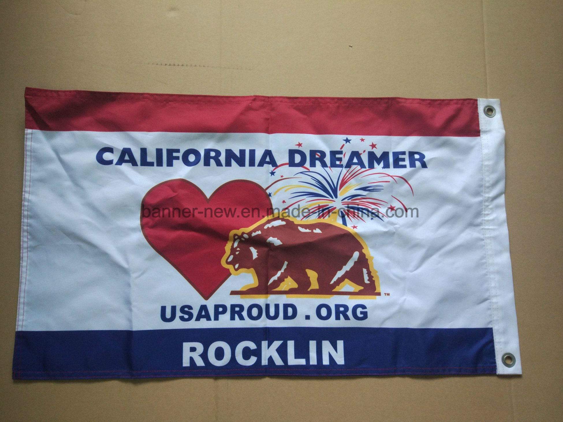 Custom Flag with Full Color Heat Transfer Printing pictures & photos