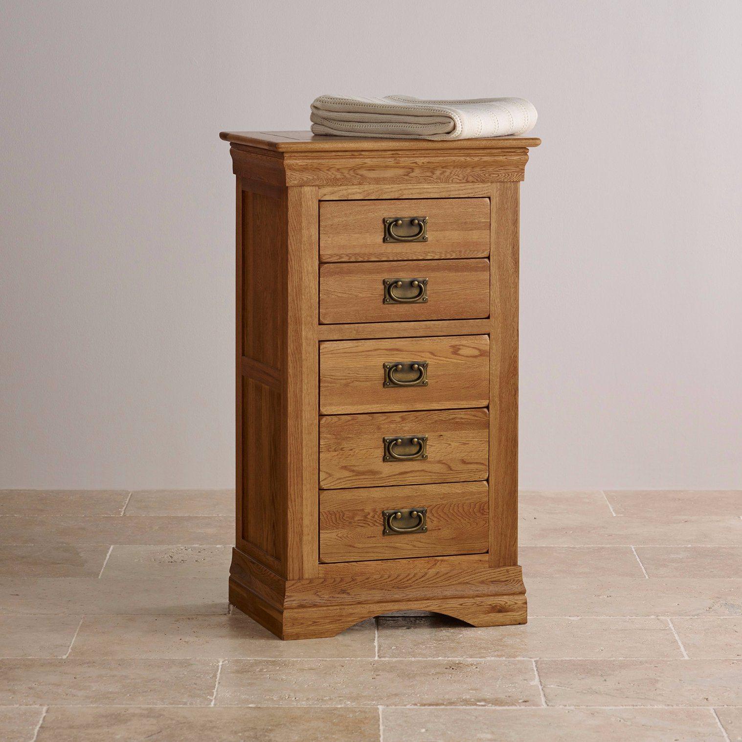 Rustic Vintage Oak Solid Wood 5 Drawer