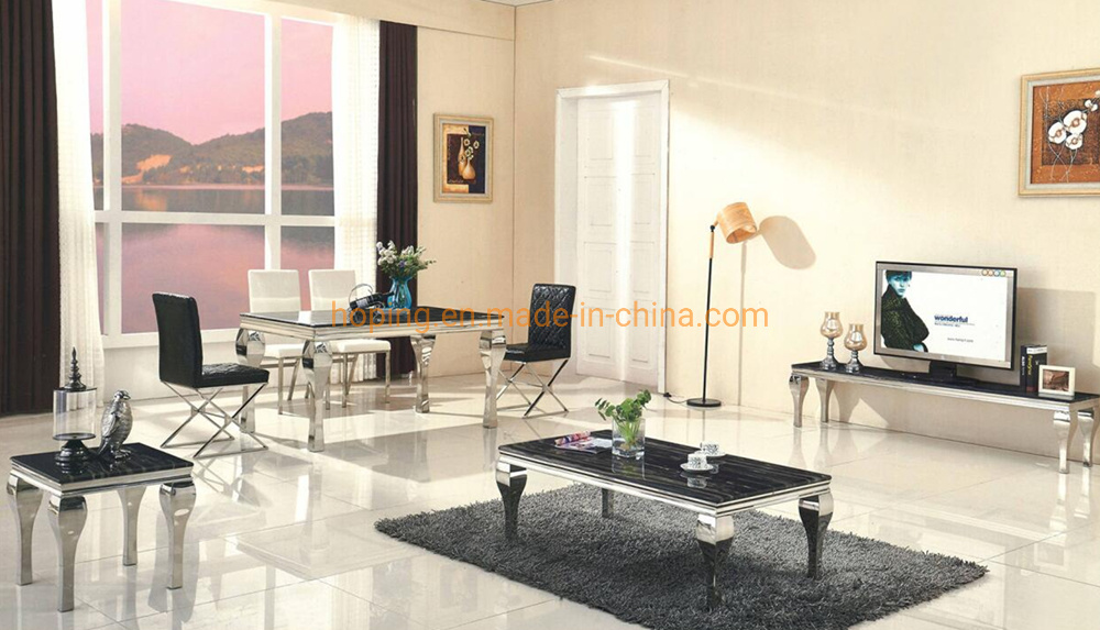 China Dining Room Furniture Luxury Modern Black Marble Top Coffee Side Table With Metal Stainless Steel Frame China Restaurant Table Marble Table