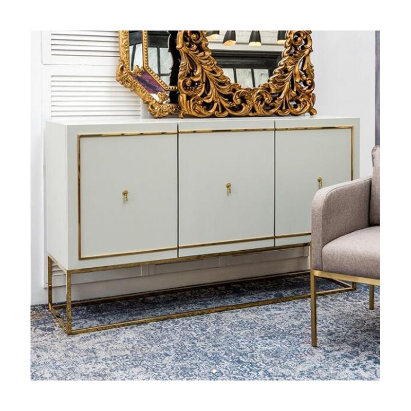 China Luxury Modern Contemporary Gold 3 Door Wood Painted Buffet