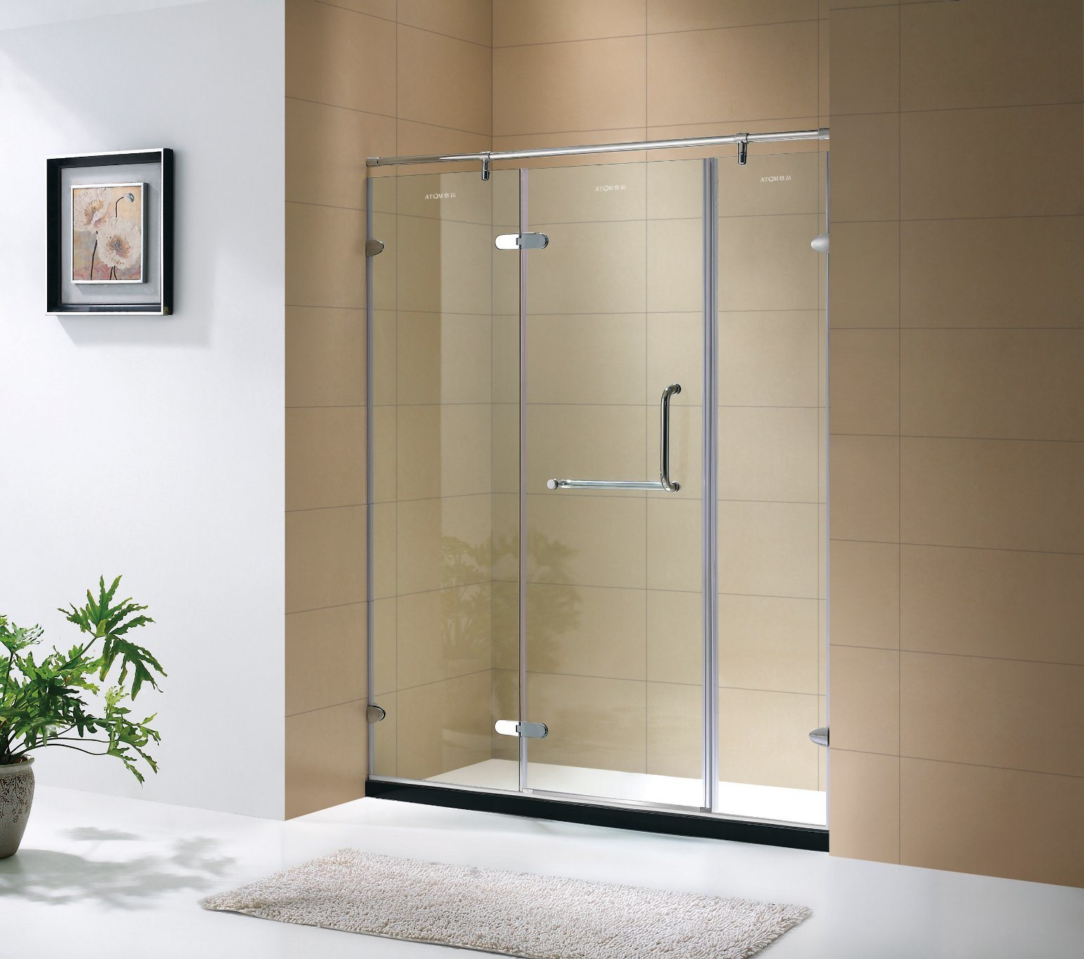 Hot Item Clear Glass And Chrome Hardware Hinged Bathroom Shower Cabin