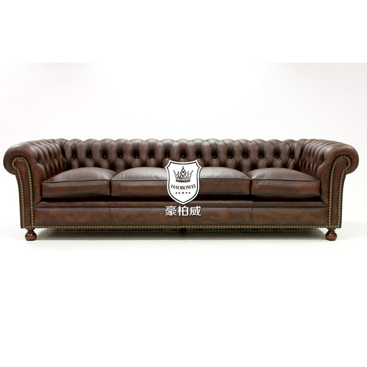 [Hot Item] Classic Handcrafted Tufted Leather Chesterfield Sofa