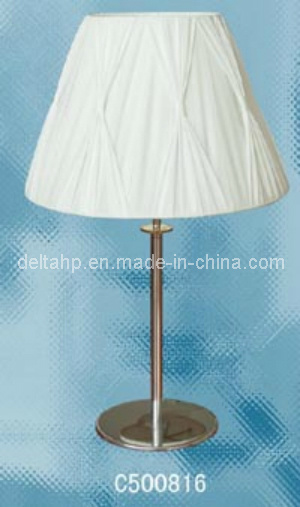 China Modern Wrinkled Shade Table Lamp With Round Metal Base