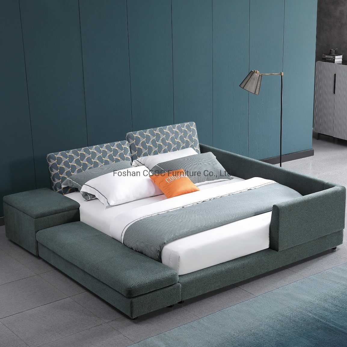China The Latest Furniture Modern Fabric Bed With A Guardrail China King Bed Living Room Furniture