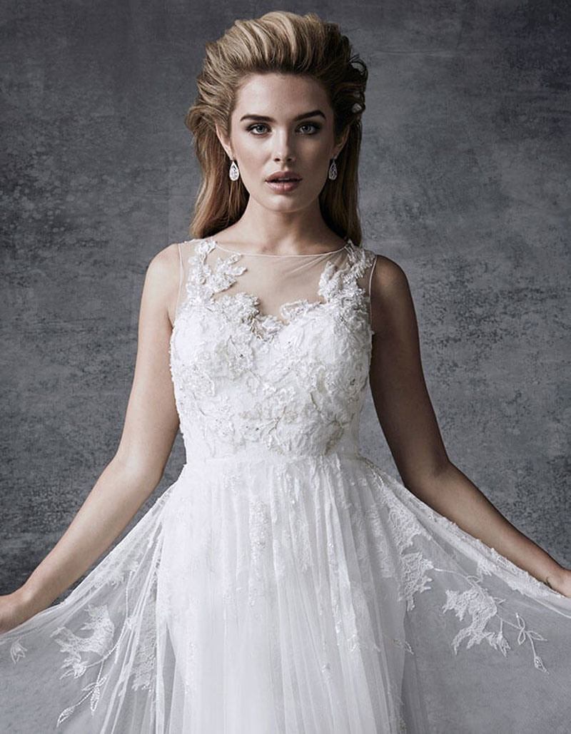 5e866949ca4 Embellished with Exquisite Beaded Lace Appliques Fairytale Wedding Dress