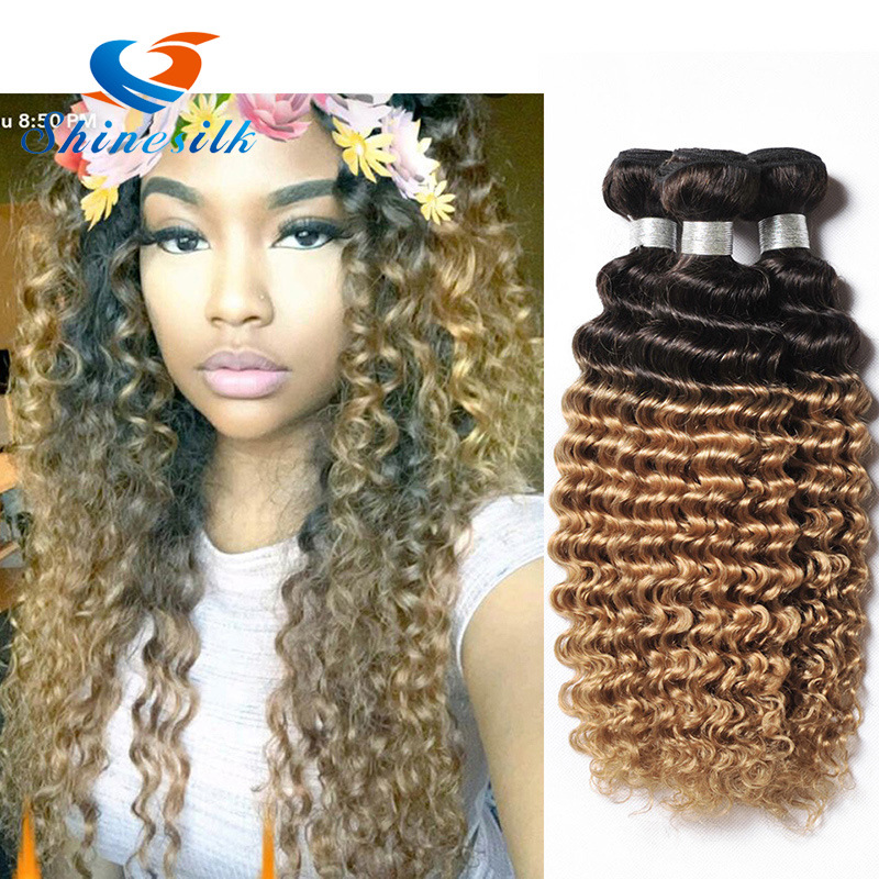 China Ombre Brazilian Deep Curly Virgin Hair Deep Wave 3 Bundles