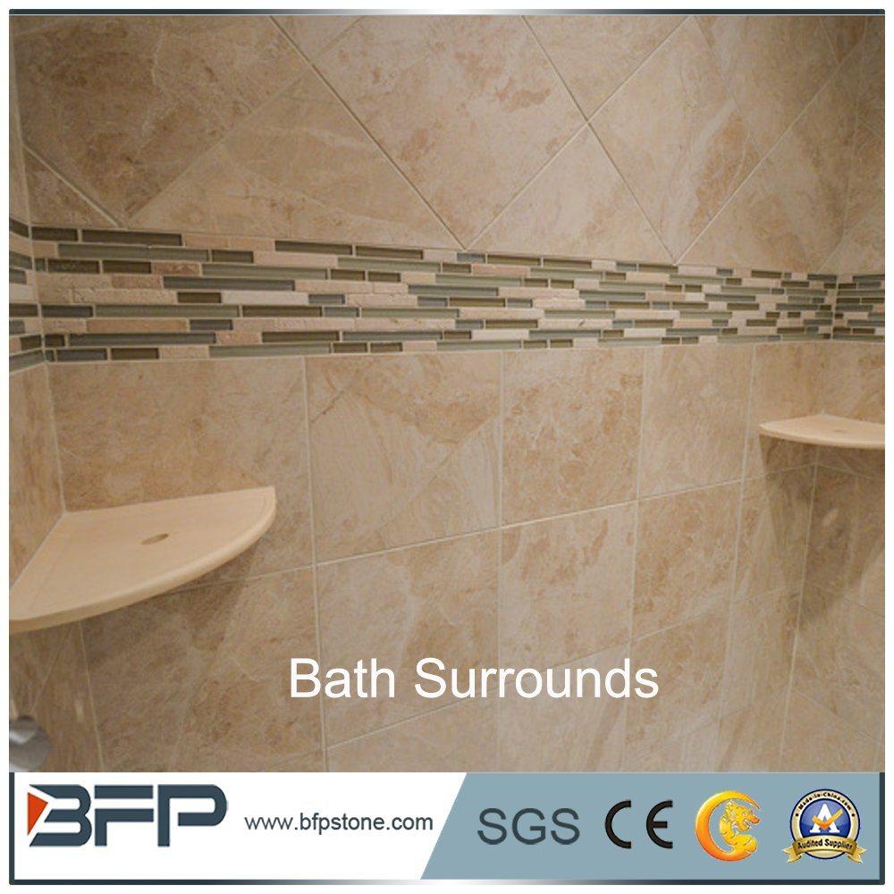 China Beige Marble Tiles Matt Surface Shower Tub Surrounds - China ...
