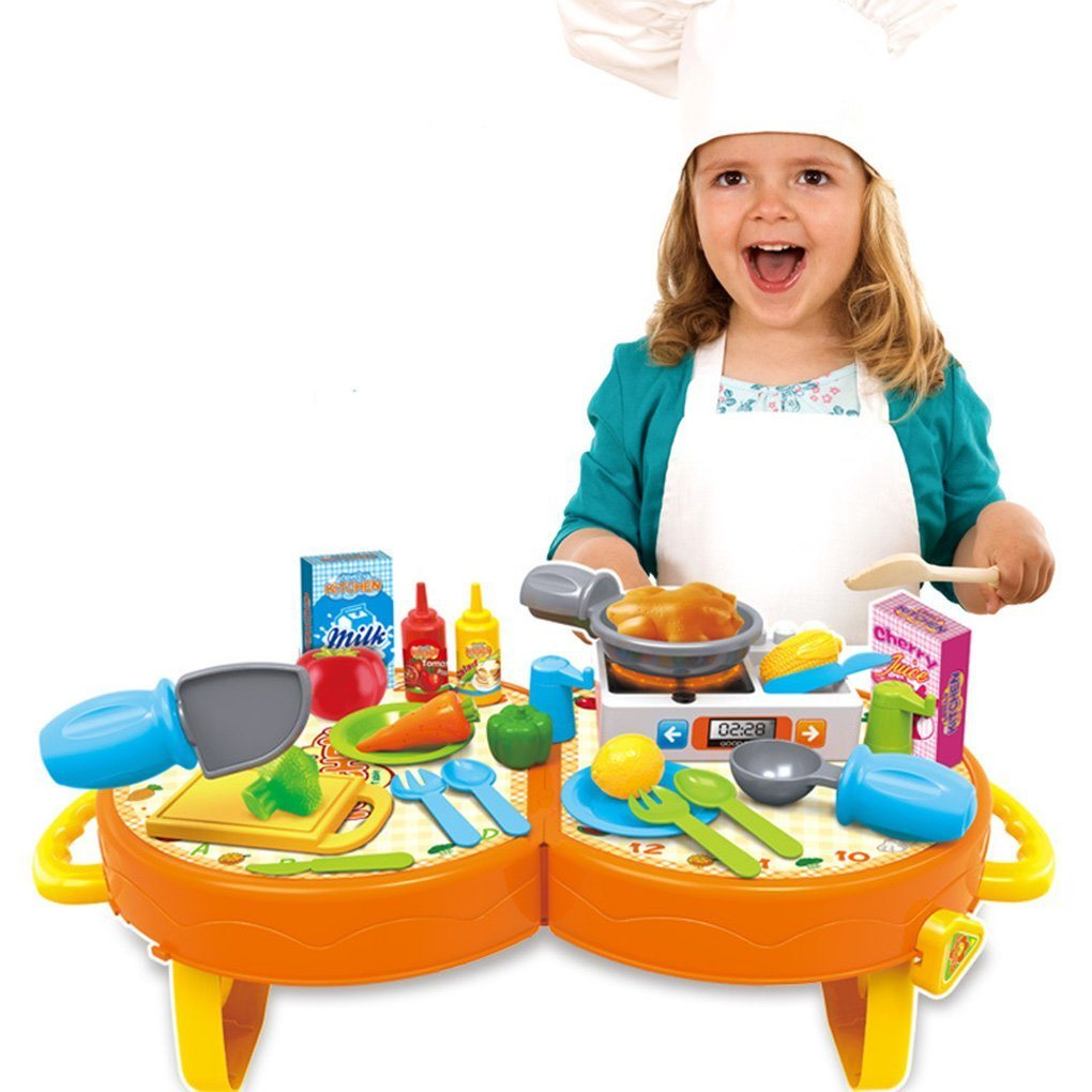 [Hot Item] 14359020-Bowa 31 PCS Lovely Kitchen Cooking Role Play Toys  Pretend Playset with Sound Light for Children