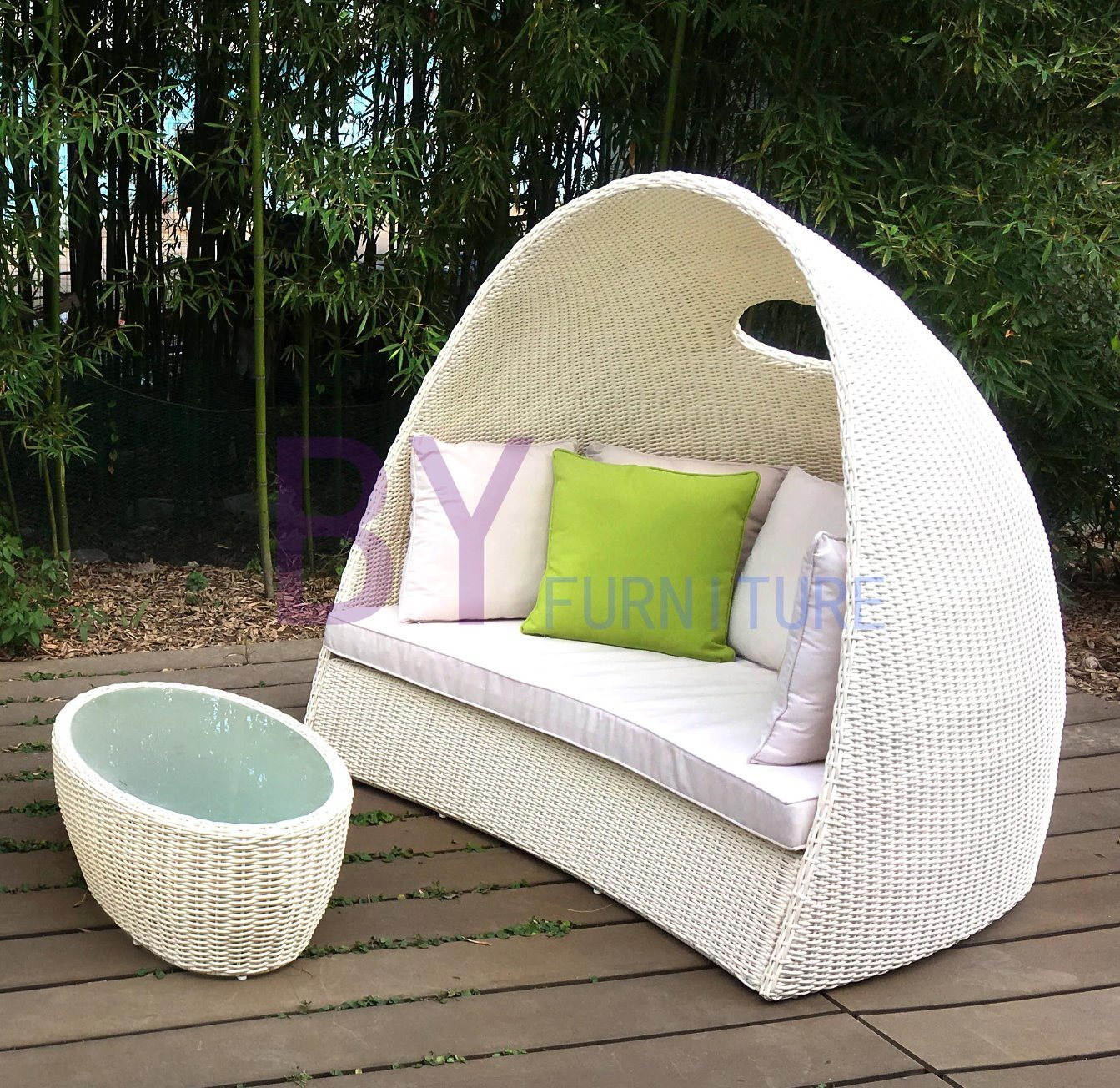 Amazing Hot Item Italian Furniture Unique Design Curved White Rattan Daybed Caraccident5 Cool Chair Designs And Ideas Caraccident5Info
