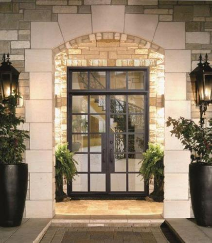 French Style Modern Wrought Iron Entry Door