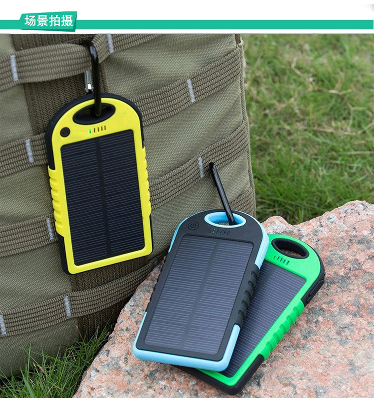 5000mAh Waterproof Solar Power Bank Battery Charger with Dual USB for Mobiles