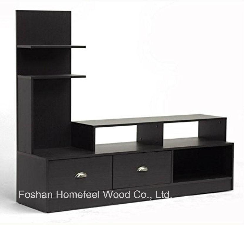Dark Brown Built In Vertical Side Console Modern Tv Stand Tvs16