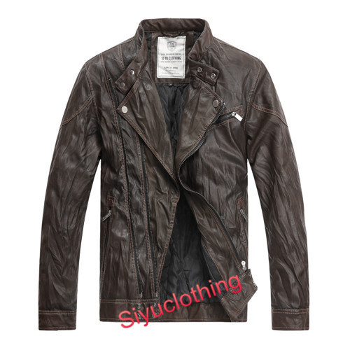 Men Brown Leather Casual Fashion Clothing Waterproof Jacket (J-1616)