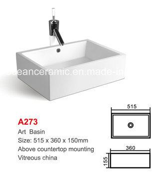 A273 Bathroom Lavatory And Sink Rectangular Wash Basin