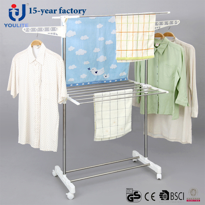 China Stainless Steel Two Layer Coat Rack China Clothes Drying