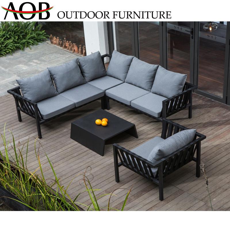 [Hot Item] Chinese Modern Outdoor Garden Home Deck Livingroom Leisure Patio  Modular L Shape Lounge Set Corner Hotel Sofa Furniture with Aluminum Table