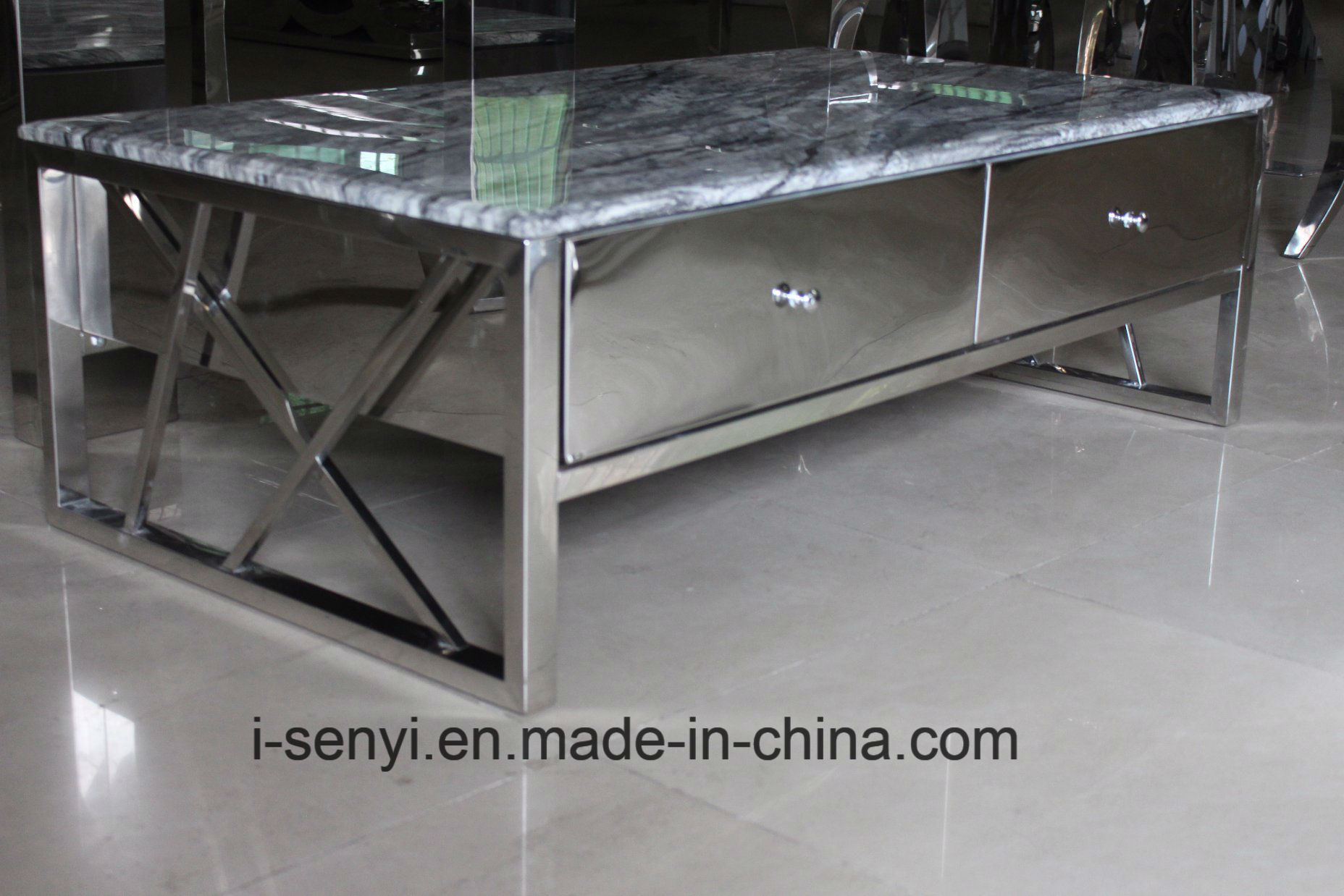 China modern living room furniture stainless steel frame with 4 solid wood drawers coffee table china home furniture stainless steel furniture
