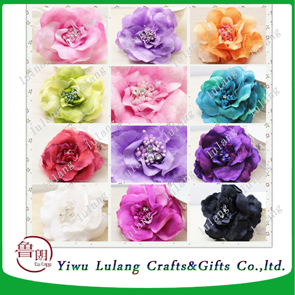 China Silk Rose Wrist Corsage Brooch Glitter Bracelets With Prom