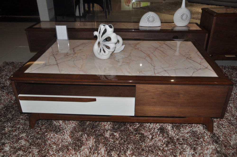 China Fashion Marble Top Wooden Frame Coffee Table Cj 2038a